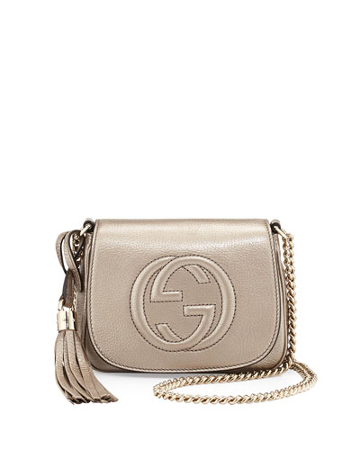 Soho Metallic Leather Mini Shoulder Bag, Gold