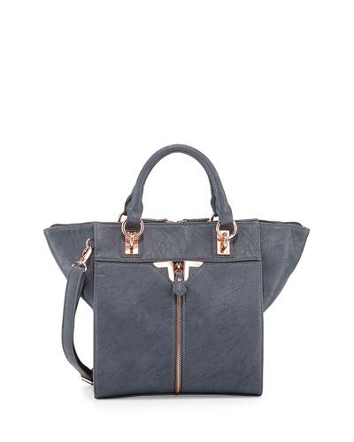 Alexa Faux-Leather Crossbody Bag, Gray