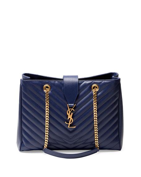 Saint Laurent Monogram Matelasse Shopper Bag, Navy f109993e62