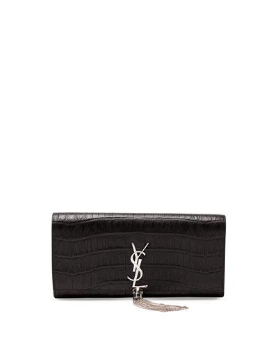 Monogramme Croc-Stamped Clutch Bag, Black