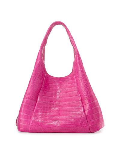 Large Crocodile Hobo Bag, Pink Matte