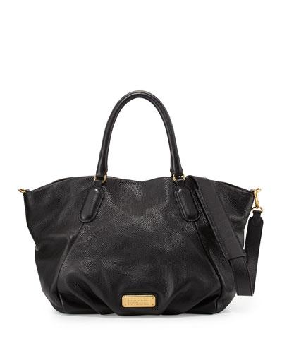 New Q Fran Leather Tote Bag, Black