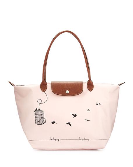 824f8850d0 Longchamp Le Pliage Oiseaux Tote Bag, Pale Pink
