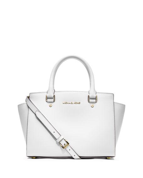 c4a63618c5c MICHAEL Michael Kors Selma Medium Top-Zip Satchel Bag, Optic White