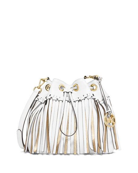 589bb6795800 MICHAEL Michael Kors Christy Medium Drawstring Messenger Bag, Optic  White/Gold