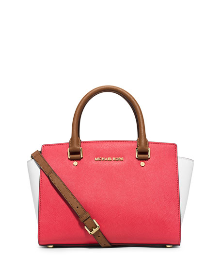 f955961298bf MICHAEL Michael Kors Selma Medium Tri-Tone Satchel Bag, Watermelon /White/Peanut