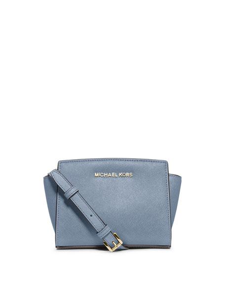 Selma Mini Saffiano Messenger Bag Pale Blue