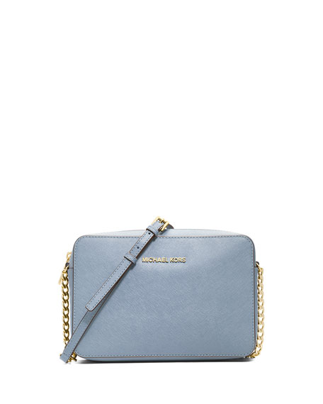 7bc72cbc2cf01b MICHAEL Michael Kors Jet Set Travel Large Saffiano Crossbody Bag, Pale Blue