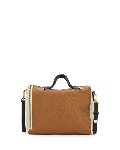 Leather Baby Satchel with Strap, Tan Multi