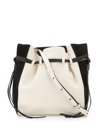 Lazar Leather Bucket Bag, Ivory/Black