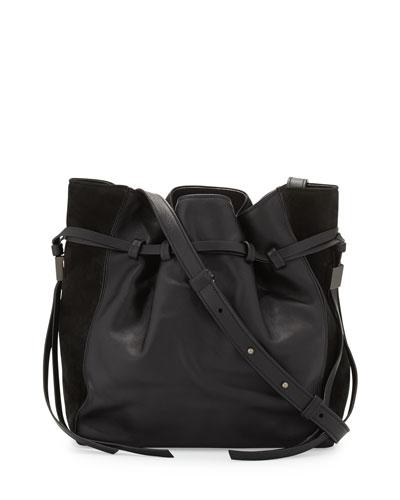 Lazar Leather Bucket Bag, Black