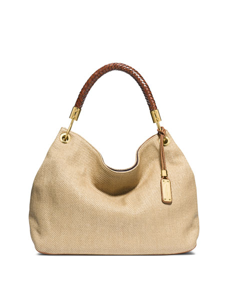 29c0beab2c31 Michael Kors Skorpios Large Woven Leather Shoulder Bag