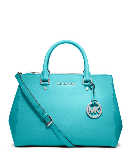 8062f6994539 MICHAEL Michael Kors Sutton Medium Saffiano Satchel Bag, Aquamarine