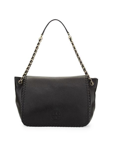 Marion Pebbled Leather Shoulder Bag Black
