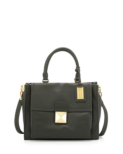 Finnie Soft Pebble Leather Satchel Bag, Hunter
