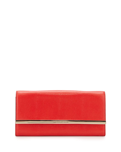 Voyage After 6 Embossed Clutch Bag, Paprika