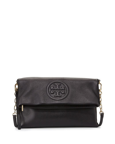 Bombe Fold-Over Clutch Bag, Black