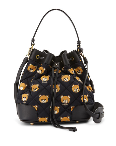 95454333e7 Moschino Quilted Small Teddy-Bear-Print Bucket Bag