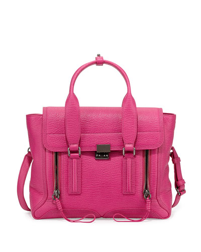 Pashli Medium Zip Satchel Bag, Bright Fuchsia