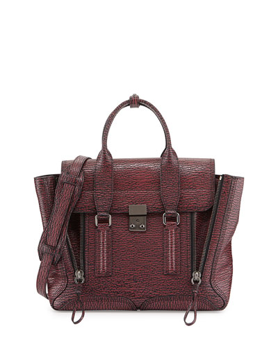 Pashli Medium Satchel Bag, Black/Maroon