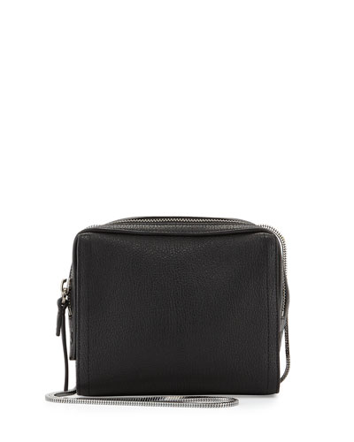 Soleil Mini Zip Crossbody Bag, Black