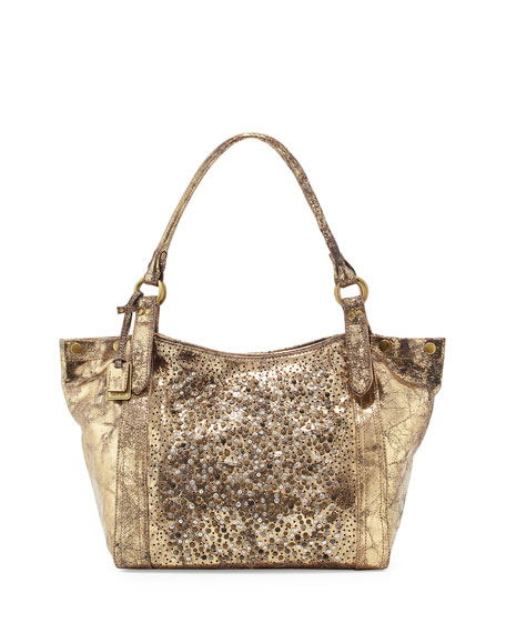 Deborah Glazed Leather Embellished Shoulder Bag Gold