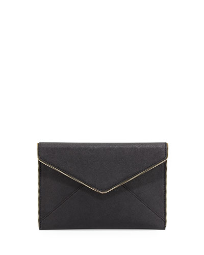 Leo Saffiano Zip-Trim Clutch Bag, Black
