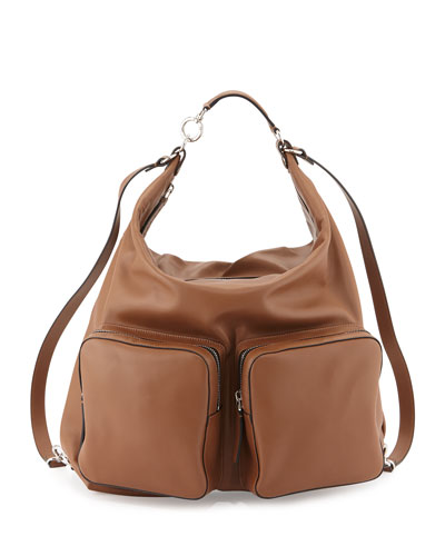 Double-Pocket Leather Hobo Bag, Camel