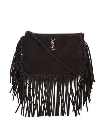 Monogram Fringe Leather Shopping Tote Bag, Black