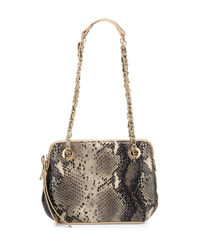 London Snake-Embossed Leather Crossbody Bag, Silver Snake