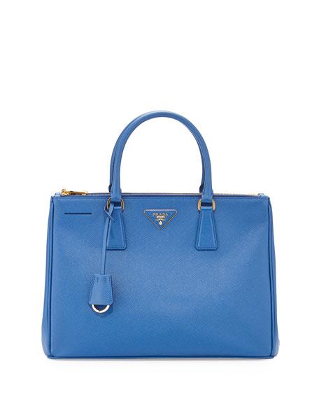 f3f3897f50a8cd Prada Saffiano Small Double-Zip Executive Tote Bag, Medium Blue (Azzuro)
