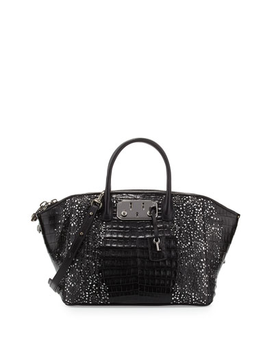 Brera 32 Lace-Cut Crocodile Satchel Bag, Black/White