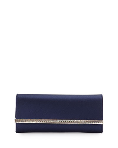 Tuxedo Crystal-Trim Satin Clutch Bag, Purple/Silver