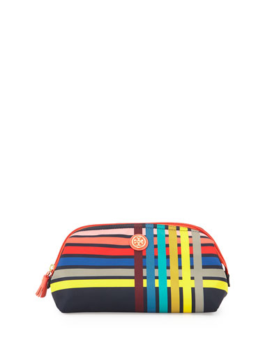 Printed Nylon Large Cosmetics Case, Navy Multi