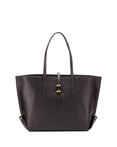 Eartha Leather Mini Shopper Tote Bag, Black