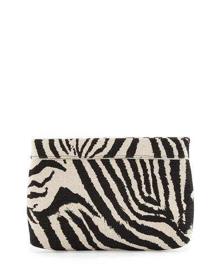 Lauren merkin paige zebra print evening clutch bag white black