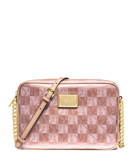 Jet Set Large Checkerboard Crossbody Bag Rose Gold