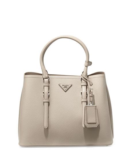 5c384f8d5662a2 Prada Saffiano Cuir Covered-Strap Double Bag, Gray (Pomice)