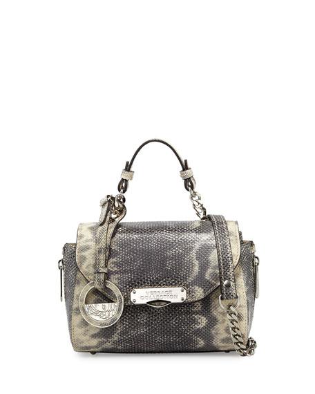 ae8a30f0f8b8 Versace Snake-Embossed Leather Mini Satchel Bag