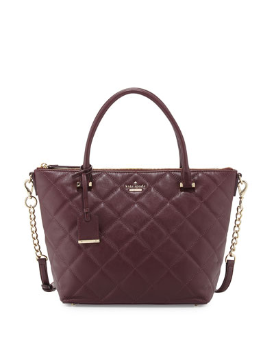 emerson place gina small tote bag, mulled wine/smoky rose