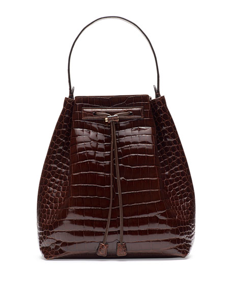 5694fd1554d19f THE ROW Bucket 9 Crocodile Bombe Bag, Cognac