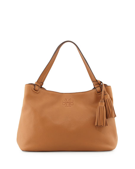 832586a0066 Tory Burch Thea Center-Zip Tote Bag, Bark