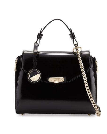 2c57190af42ab Versace Top-Handle Patent Leather Satchel Bag