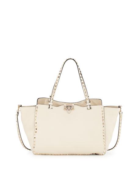 a952b6a16e Valentino Garavani Rockstud Medium Grain Leather Tote Bag, Ivory