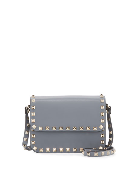 265cbb1702 Valentino Garavani Rockstud Small Flap-Top Crossbody Bag, Gray
