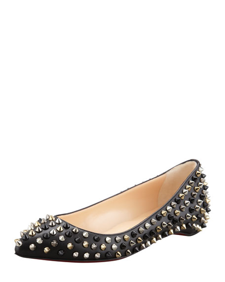 quality design 16e0b c2bcc Pigalle Spikes Point-Toe Red Sole Flat Black