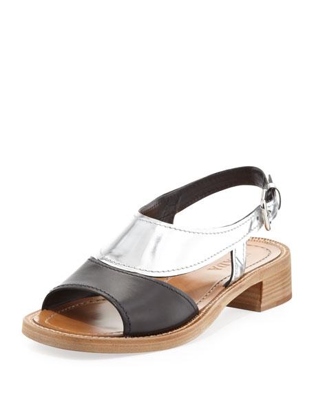 88a28d8d888 Prada Metallic Bicolor Low-Heel Sandal