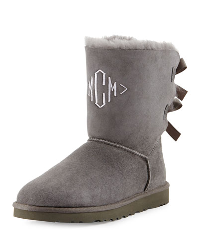 Bailey Bow-Back Short Boot, Gray