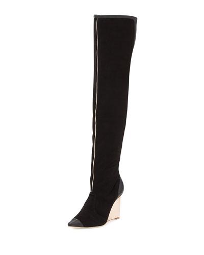 Hallie Suede Over-the-Knee Boot, Black/Rose Gold