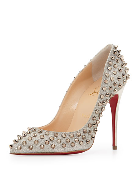 new concept cef9b c7091 Follies Spike-Studded Glitter Red Sole Pump Colombre